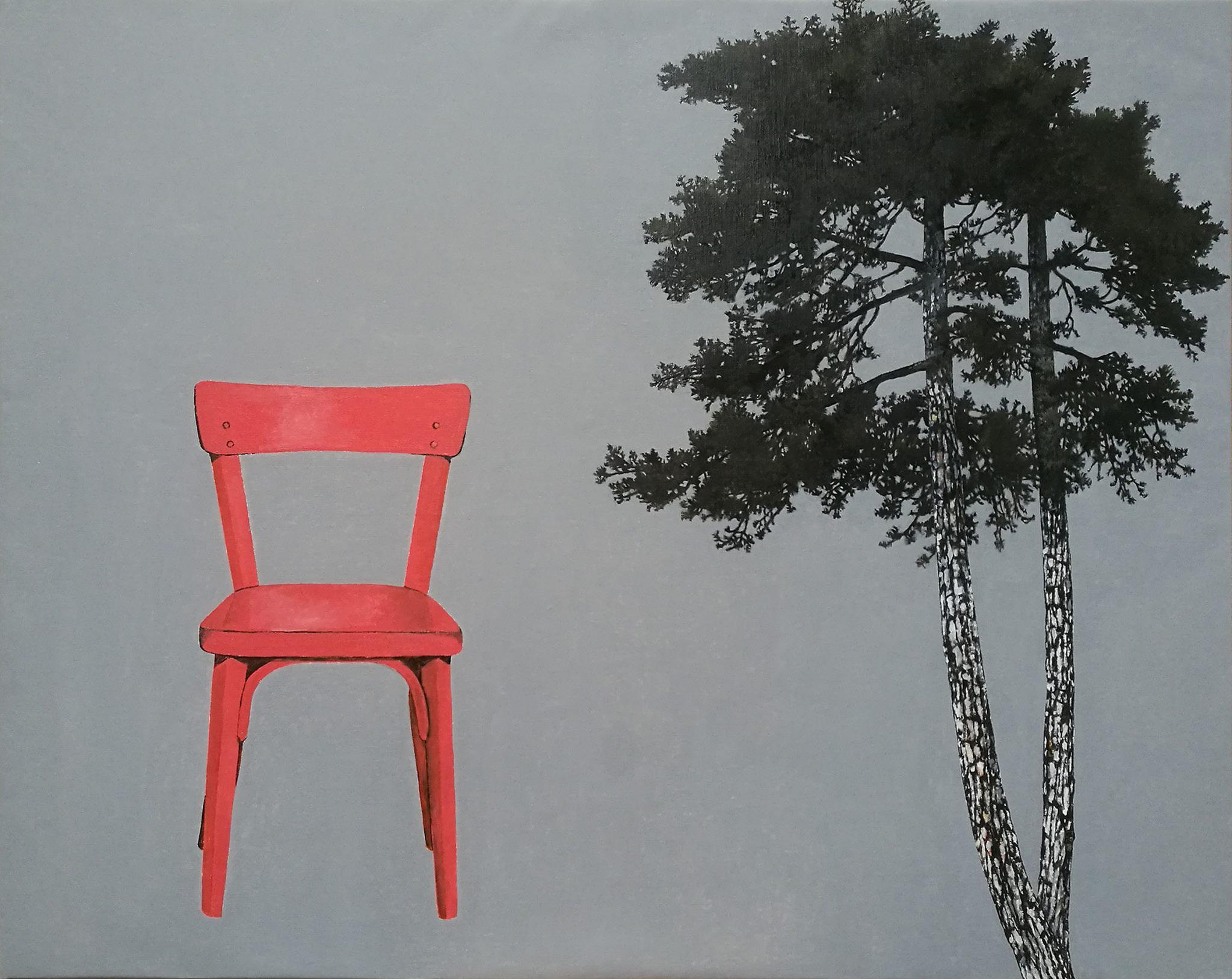IKIOU - Chaise orange, Huile sur toile, 100x81cm