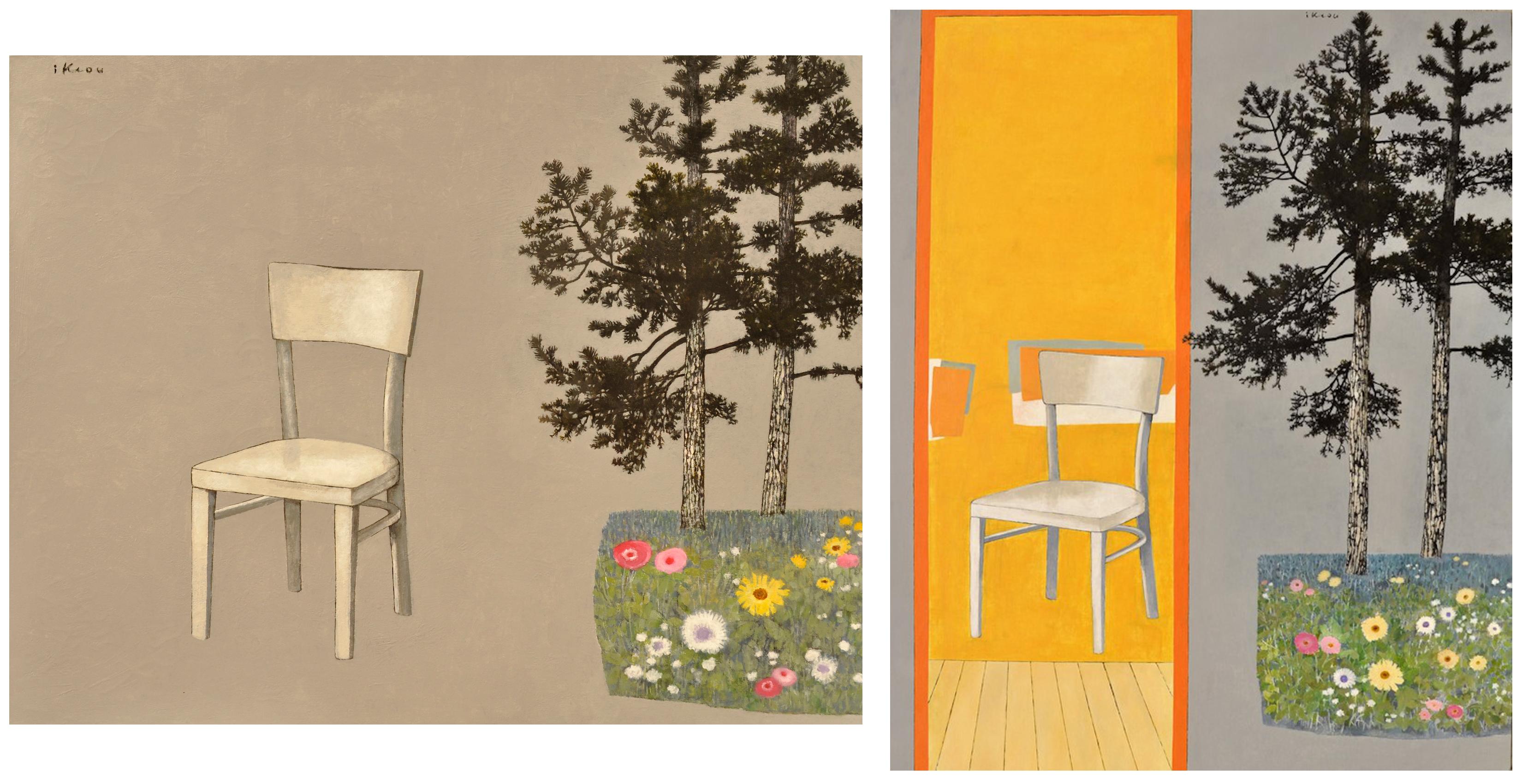 IKIOU - à gauche : Chaise blanche dans le jardin gris, huile sur toile, 100x81cm, 2017 - à droite : Souvenirs d'été, huile sur toile, 162x130cm, 2018 - mecenavie